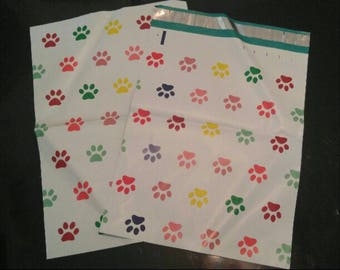 "20 Pack of 10"" x 13"" Playful Puppy Paw Prints Flat Poly Mailers, w/Self Sealing Strips Easy Wrapping Mailer Bags for Birthdays"