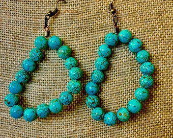 Teal Beaded Drop Earrings