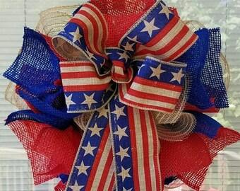 SALE 4th July Wreath, Patriotic Wreath, USA Wreath, Rustic Wreath, Memorial Day Wreath, Burlap Wreath, Ribbon Wreath, Flag Wreath, Jute Mesh