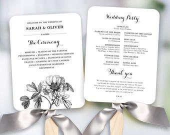 vintage peony floral wedding fan program printable wedding fan program template fan wedding programs