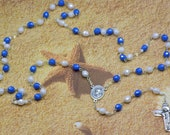 St. Mother Teresa of Calcutta Rosary - Czech Blue and White Beads - St. Mother Teresa Cloth Relic Center - Italian Mother Mary Crucifix
