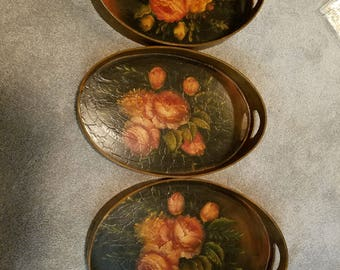 NESTING BUTLER TRAY (3) paper mache tole roses painted