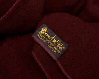 Large dark burgundy wine Pearce Woolrich wool blanket - thick heavy 100% wool blanket or throw