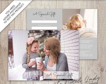 Photography Gift Certificate Template - Photo Gift Card - Design #19 - INSTANT DOWNLOAD - Layered .PSD Files