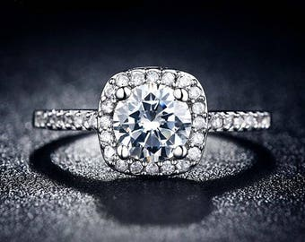 Easy Pay/ Cubic Zirconia/ Wedding Ring/ Easy Pay/ Installment Plan/ Silver Overlay Ring/  AAA Cubic Zirconia /Geometric Setting