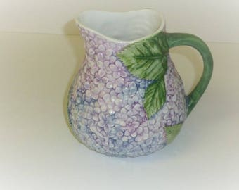 Vintage Majolica Pitcher ANCORA Pottery Made in Italy Hydrangea Flower Lavender Lilac Large Glazed Ceramic Pottery Half Gallon