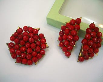Vintage Signed Miriam Haskell Red Glass Brooch and Earrings
