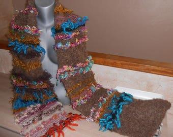 "Scarf ""waterfall"" chunky knit, mohair and handspun wool."