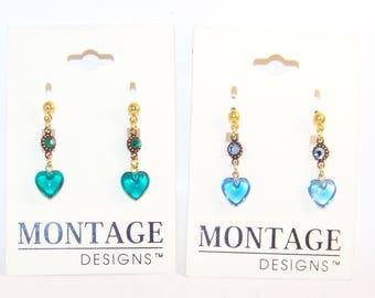 New on Card Montage Heart Drop Earrings