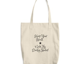 Roller Derby Novelty Cotton Tote Bag Keep Your Heels Give Me Derby Skates