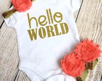 Hello World Newborn Outfit - Gold Glitter & Coral - Bodysuit, Headband, Barefoot Sandals - Going Home, Photoshoot, Baby Shower Gift