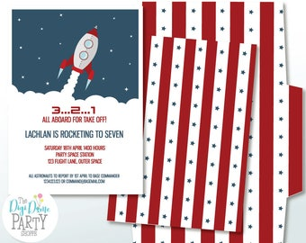 Space Rocket/Astronaut Party Printable Invitation in Blue & Red, 5x7in.