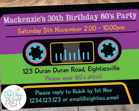 Eighties1980s Cassette Tape Printable Party Invitation Template