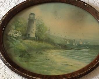 Vintage Oval Framed Lighthouse Picture 11 x 7