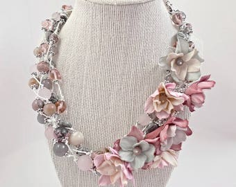 "Multicolored Natural Beads Necklace ""Etude in pink-gray tones.."". Multi-layer necklace with  Flowers from EVA foam (very thin)"