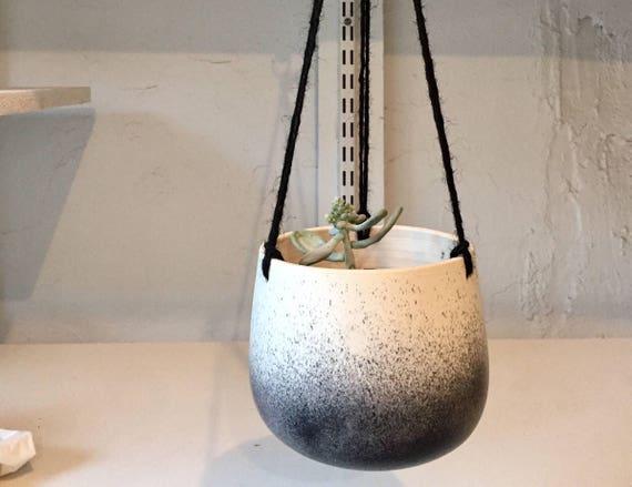 Large Ceramic planter-white and black-   Hanging flower pot - herb planter- NEW!