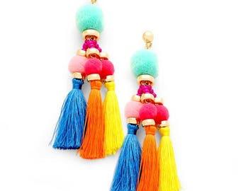 Multi-coloured Pom Pom Tassel Festival Earrings -UK SELLER