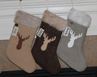 Deer christmas stockings | Etsy