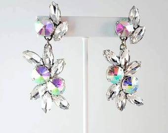 Crystal and AB Rhinestone Handmade Earrings