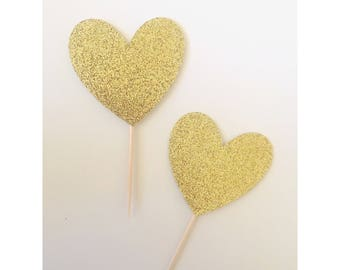 Heart Cupcake topper, Heart Toppers, Love cupcake topper, Cupcake toppers, pink and gold hearts, 1st birthday, valentines day- set of 12