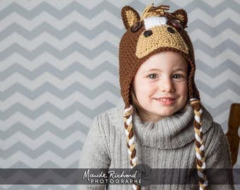 Knitted brown horse cap, crocheted pony beanie, funny animal hats for toddlers and kids 1 to 4 years old