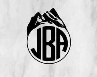 Mountain Monogram Decal / mountain decal / travel decal / travel sticker / monogram sticker / adventure decal / car monogram
