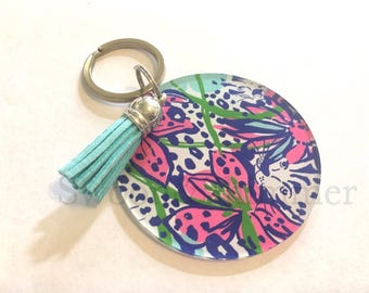 Floral Acrylic Blanks, 2.5 Inch Circles 1 Hole, tassel Keychain blanks, blank acrylics, circle keychains, monogram keychain, pink flower