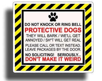 Protective Dog / No Soliciting Sticker Window Door Vinyl Decal Graphic Anti Salesman Protect K9 Pet