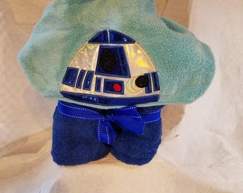 Personalized R2D2 hooded bath towel