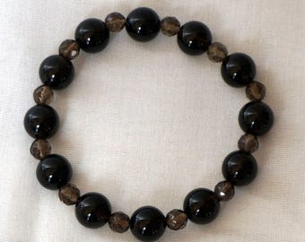 Smoky quartz elastic bracelet