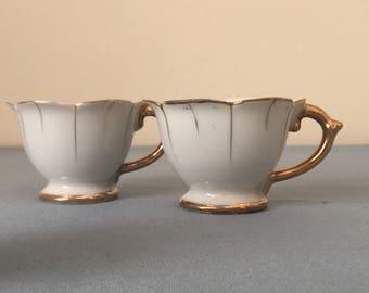 pair vintage espresso cups white porcelean with gold