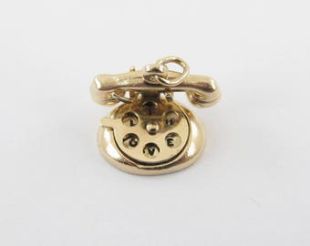 Vintage 14k Yellow Gold 3D Rotary Telephone Phone Charm