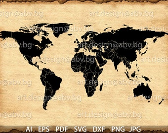 Vector world map etsy vector earth map countries ai eps pdf svg dxf gumiabroncs Choice Image