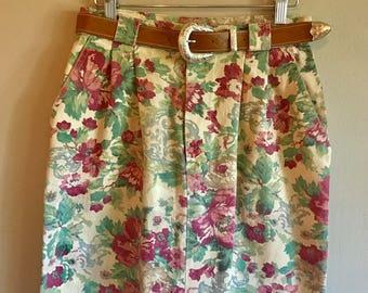 Vintage 90's floral denim romantic western belted boho skirt Medium