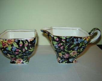 Royal Winton cream and sugar Chintz, Nantwich pattern