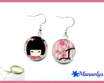 Pink kokeshi earrings and the Japan flowers, cabochons glass 1696