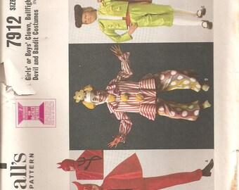 Vintage McCall's 1960s Costume Pattern: Children's Clown, Bullfighter, Devil, Bandit Costumes. Size M (6-8). UNCUT