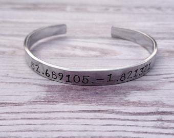 Custom Coordinate Bracelet, Personalised Latitude Longitude Jewellery, Hand Stamped Bracelet, Personalised Gift for Her, Wedding Gift