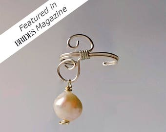 Pearl ear cuff - cartilage earring - ear cuff non pierced - cartilage cuff - silver ear cuff - ear cuff earrings - dainty ear cuff - earcuff