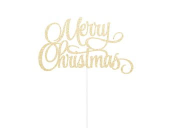 Merry Christmas Cake Topper - any color glitter - Holiday Topper Decor
