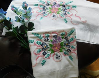 Fancy 50s Hand Embroidered Pillowcases