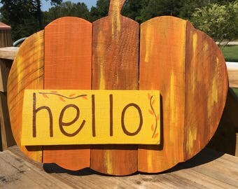 Fall Porch Sign - Fall Door Hanger - Thanksgiving Decor - Pumpkin Door Hanger - Hello Pumpkin Sign - Halloween Decor - Pumpkin Sign