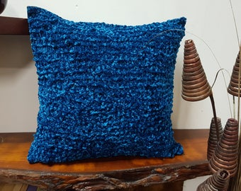 Knit cushion, teal cushion, fluffy wool cushion, Throw pillow, One-of-a-kind cushion, home decor, decorative pillow