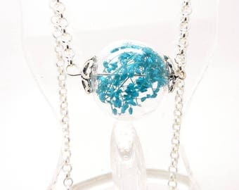 Long necklace glass globe round turquoise leaves