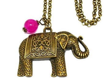 Pink elephant and Pearl pendant necklace