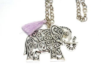 Long purple tassel and elephant pendant