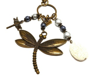 A scent! bronze bag charm, dragonfly gray pearls