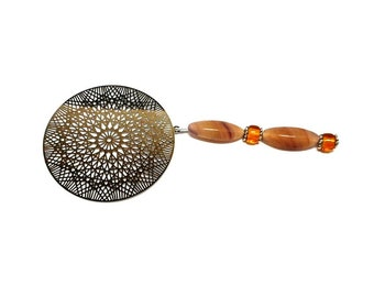 Silver jewelry, filigree stamp bookmark beads ocher
