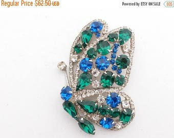 Half off Hobe Butterfly Brooch clear green blue rhinestones figural hard to find AA601