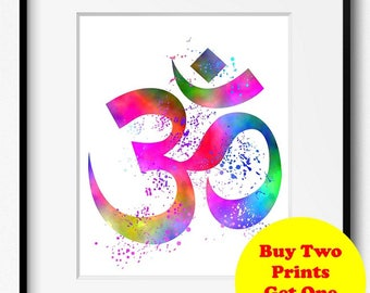 Om Symbol Yoga Art (401) Yoga Art Print, Yoga Artwork, Watercolor Painting